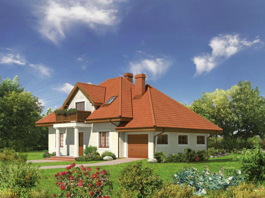 Проект дома с балконом над входом superdoms.ru.
